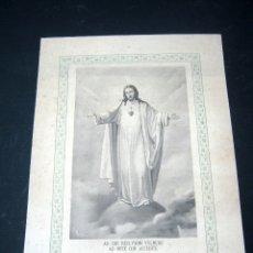 Arte: ANTIGUA ESTAMPA GRANDE - BENDECIRE LA CASA EN QUE .... CORAZON DE JESUS . ALACOQUE. Lote 175067615