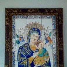 Arte: SIGLO XIX. CUADRO-RETABLO CERÁMICO DE VIRGEN DEL PERPETUO SOCORRO CON NIÑO JESUS.. Lote 175106518
