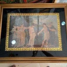 Arte: GRABADO A COLOR ANTIGUA ESCENA GRIEGA CON PARPASTU DORADO AL CRISTAL - MEDIDA MARCO 71X56.5 CM. Lote 175196349