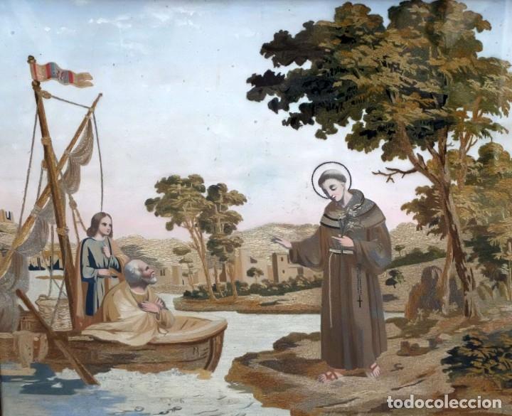 BELLA COMPOSICIÓN BORDADA Y PINTADA SOBRE SEDA DEL SIGLO XIX DE TEMA RELIGIOSO (Arte - Arte Religioso - Pintura Religiosa - Otros)