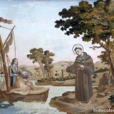 Arte: BELLA COMPOSICIÓN BORDADA Y PINTADA SOBRE SEDA DEL SIGLO XIX DE TEMA RELIGIOSO. Lote 86373716