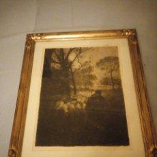 Arte: ANTIGUO GRABADO OLOF AUGUST ANDREAS JERNBERG, SCHÄFER MIT SEINER HERDE,( PASTOR CON REBAÑO) ORIGINAL. Lote 175312630