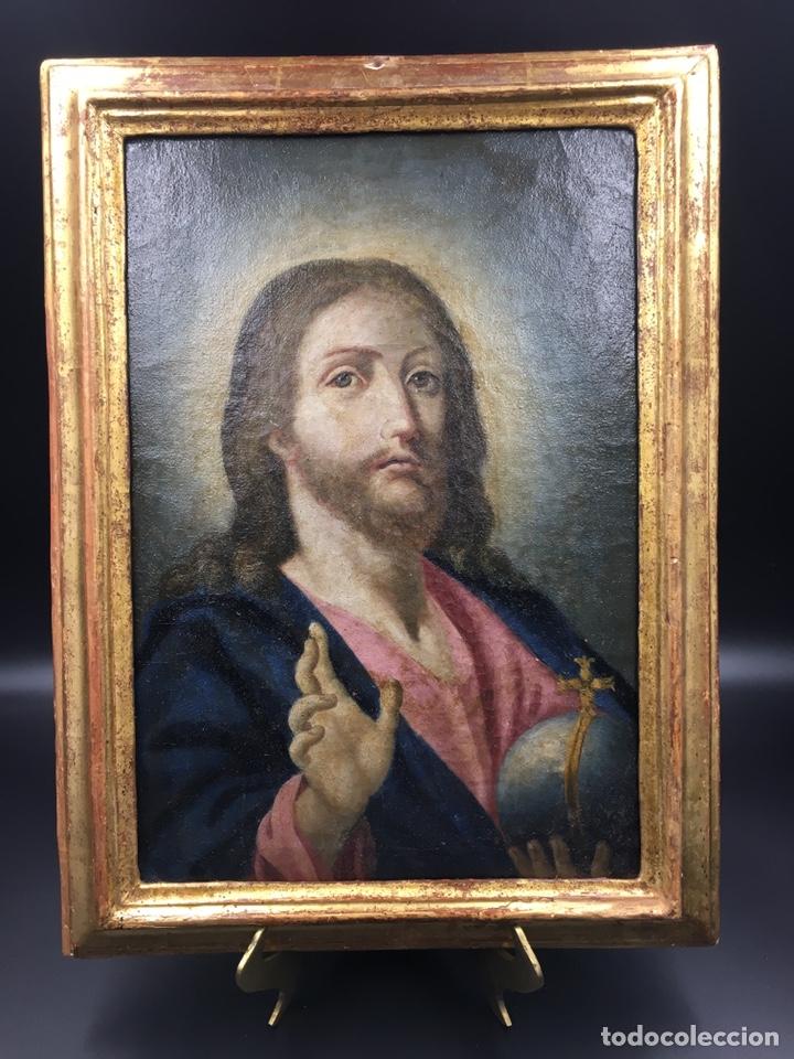 Arte: Salvator mundi. Óleo sobre lienzo. Escuela italiana. Siglo XVII - Foto 2 - 175348517