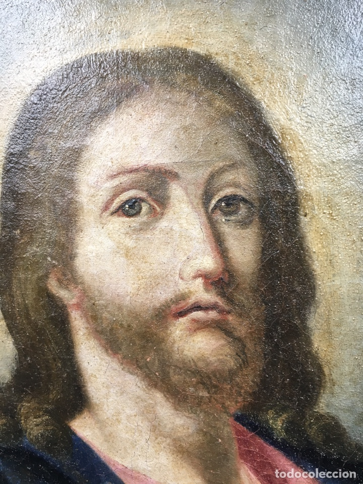 Arte: Salvator mundi. Óleo sobre lienzo. Escuela italiana. Siglo XVII - Foto 3 - 175348517