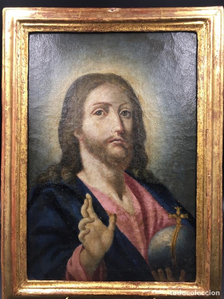Arte: Salvator mundi. Óleo sobre lienzo. Escuela italiana. Siglo XVII - Foto 6 - 175348517