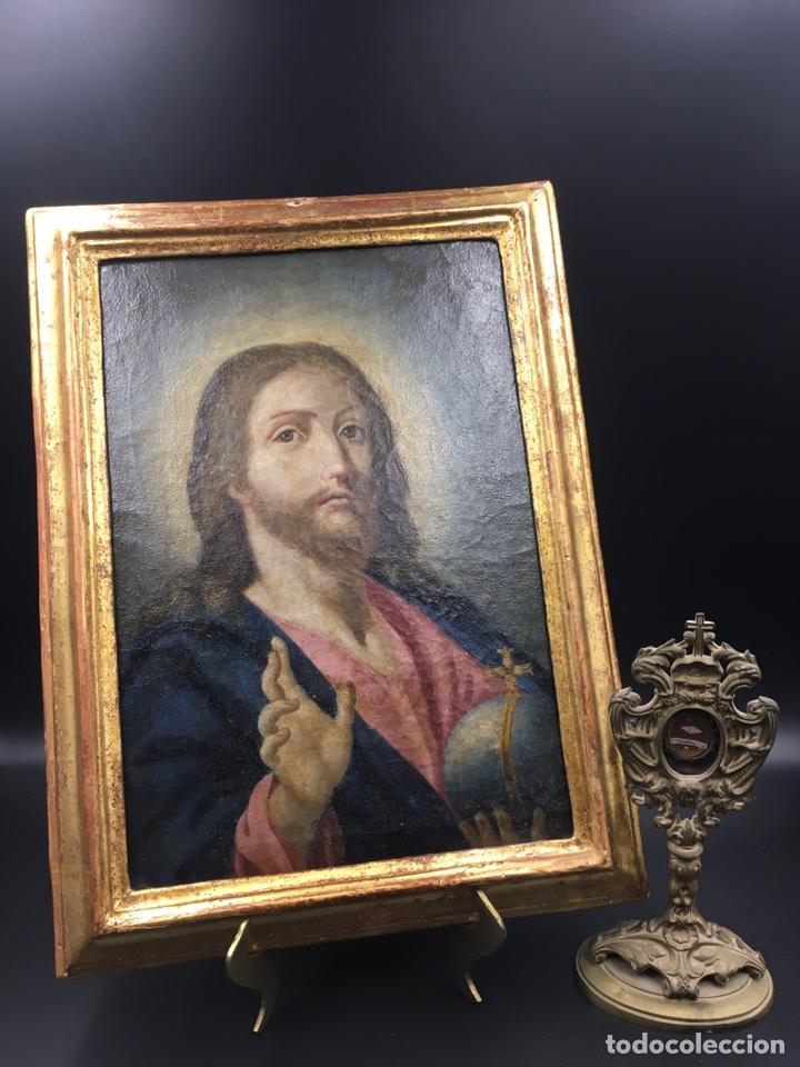 Arte: Salvator mundi. Óleo sobre lienzo. Escuela italiana. Siglo XVII - Foto 11 - 175348517