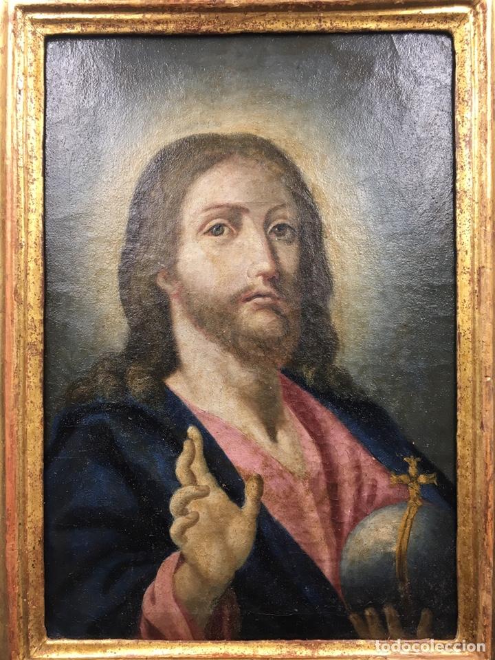 SALVATOR MUNDI. ÓLEO SOBRE LIENZO. ESCUELA ITALIANA. SIGLO XVII (Arte - Arte Religioso - Pintura Religiosa - Oleo)