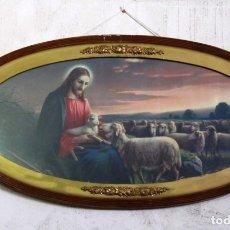 Arte: ANTIGUA Y PRECIOSA LITOGRAFIA ENMARCADA DE EL BUEN PASTOR JESÚS CON LAS OVEJAS CRISTO JESUCRISTO. Lote 175388790
