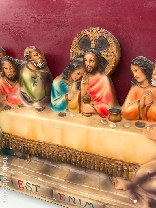 Arte: ANTIGUO RETABLO RELIGIOSO. ULTIMA SANTA CENA. ALTO RELIEVE - Foto 4 - 175412807