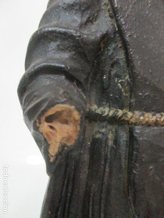 Arte: Preciosa Escultura - San Francisco de Paula - Madera Tallada y Policromada - S. XVIII - Foto 6 - 175442055