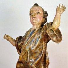 Arte: NIÑO JESÚS TRIUNFANTE. MADERA TALLADA Y POLICROMADA. NORTE DE EUROPA. XVII-XVIII. Lote 175511123