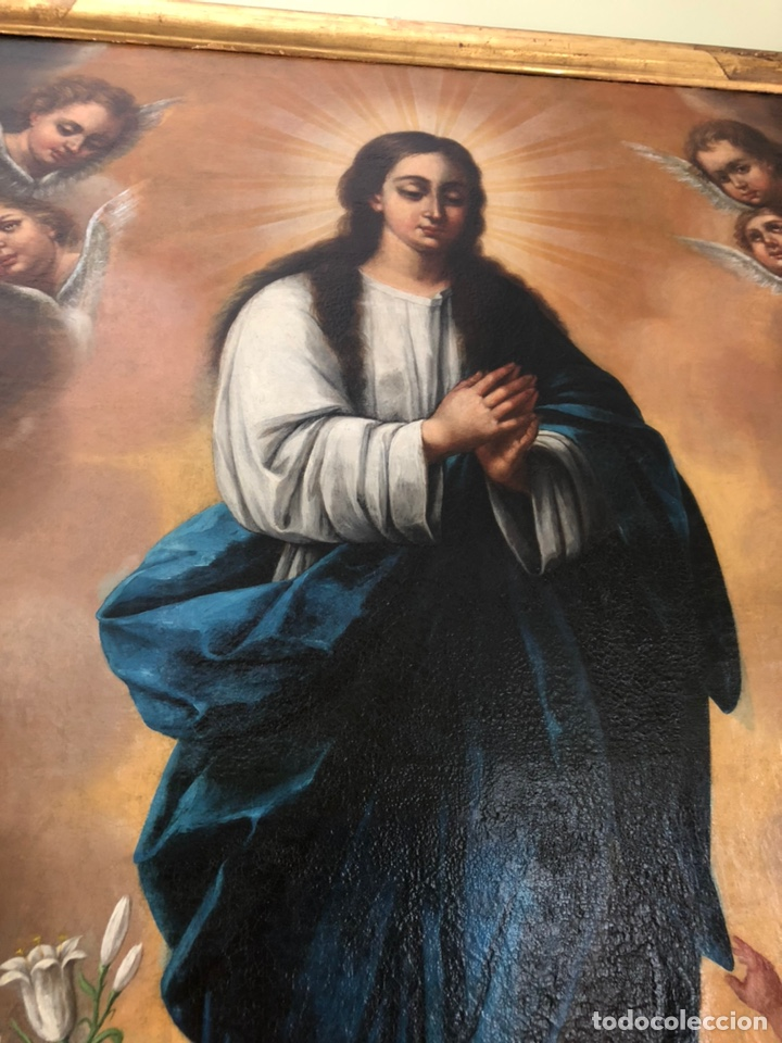 Arte: Virgen Inmaculada, óleo, estilo Alonso Cano, siglo XIX. 167 x 128 cm - Foto 13 - 175511562