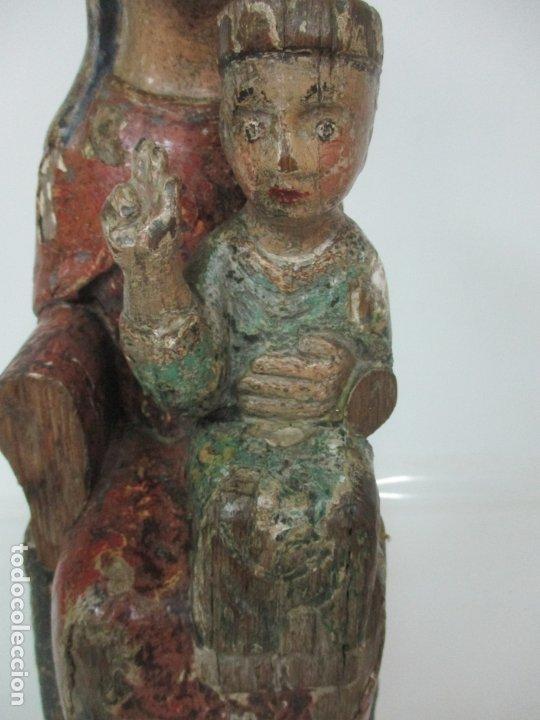 Arte: Antigua Virgen Románica Catalana - Madera de Roble, Tallada y Policromada - Original - S. XIV - Foto 6 - 175532383