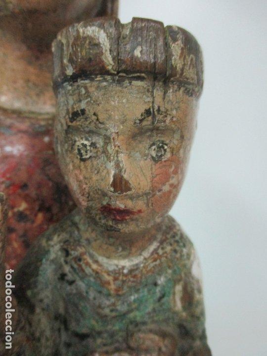 Arte: Antigua Virgen Románica Catalana - Madera de Roble, Tallada y Policromada - Original - S. XIV - Foto 8 - 175532383