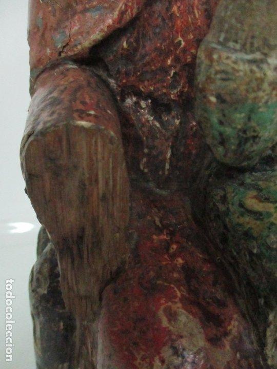 Arte: Antigua Virgen Románica Catalana - Madera de Roble, Tallada y Policromada - Original - S. XIV - Foto 11 - 175532383