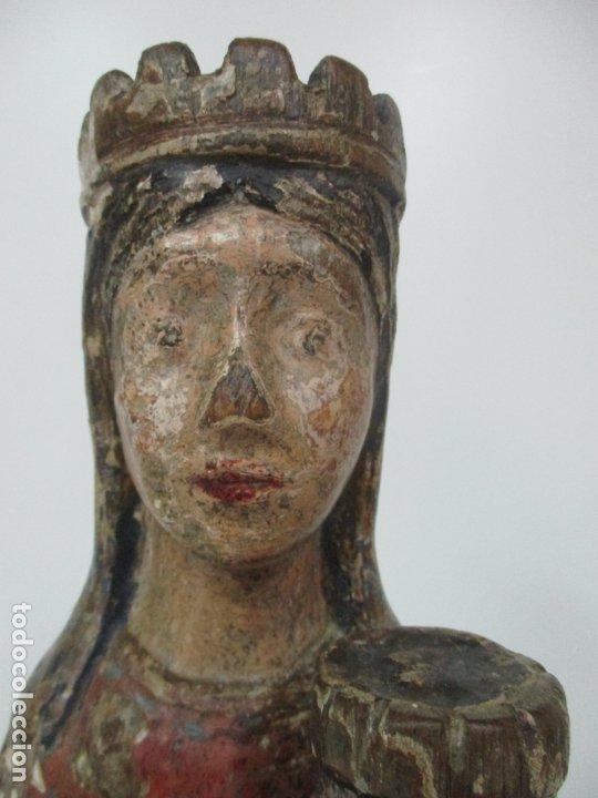 Arte: Antigua Virgen Románica Catalana - Madera de Roble, Tallada y Policromada - Original - S. XIV - Foto 13 - 175532383