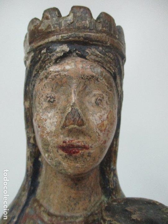 Arte: Antigua Virgen Románica Catalana - Madera de Roble, Tallada y Policromada - Original - S. XIV - Foto 14 - 175532383