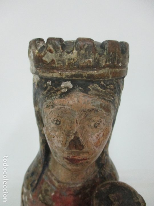 Arte: Antigua Virgen Románica Catalana - Madera de Roble, Tallada y Policromada - Original - S. XIV - Foto 15 - 175532383