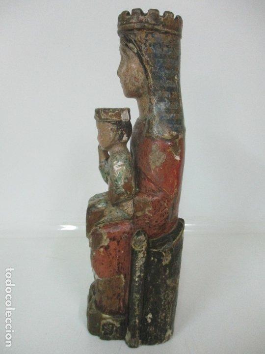 Arte: Antigua Virgen Románica Catalana - Madera de Roble, Tallada y Policromada - Original - S. XIV - Foto 16 - 175532383