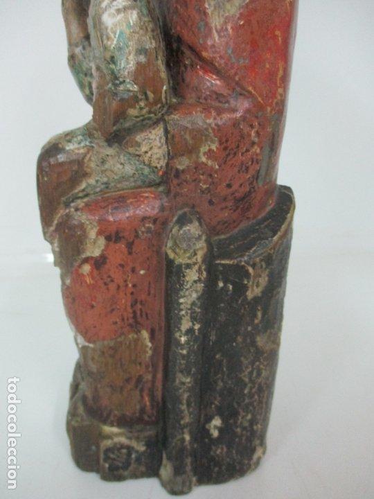 Arte: Antigua Virgen Románica Catalana - Madera de Roble, Tallada y Policromada - Original - S. XIV - Foto 18 - 175532383