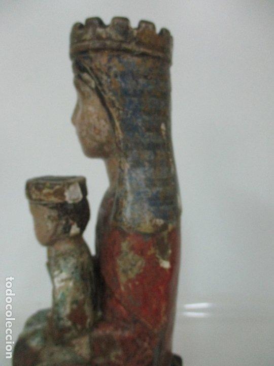 Arte: Antigua Virgen Románica Catalana - Madera de Roble, Tallada y Policromada - Original - S. XIV - Foto 21 - 175532383