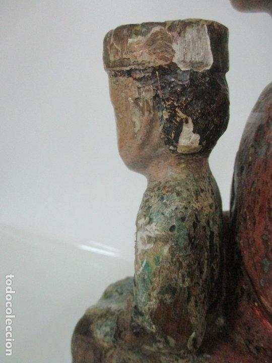 Arte: Antigua Virgen Románica Catalana - Madera de Roble, Tallada y Policromada - Original - S. XIV - Foto 22 - 175532383