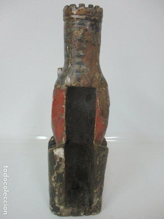 Arte: Antigua Virgen Románica Catalana - Madera de Roble, Tallada y Policromada - Original - S. XIV - Foto 25 - 175532383