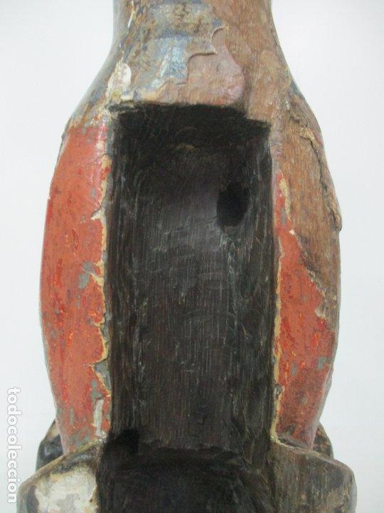 Arte: Antigua Virgen Románica Catalana - Madera de Roble, Tallada y Policromada - Original - S. XIV - Foto 27 - 175532383