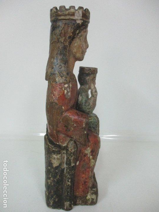 Arte: Antigua Virgen Románica Catalana - Madera de Roble, Tallada y Policromada - Original - S. XIV - Foto 30 - 175532383