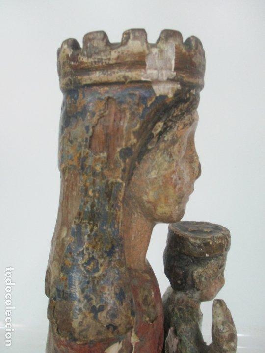 Arte: Antigua Virgen Románica Catalana - Madera de Roble, Tallada y Policromada - Original - S. XIV - Foto 34 - 175532383