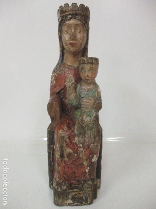 Arte: Antigua Virgen Románica Catalana - Madera de Roble, Tallada y Policromada - Original - S. XIV - Foto 35 - 175532383