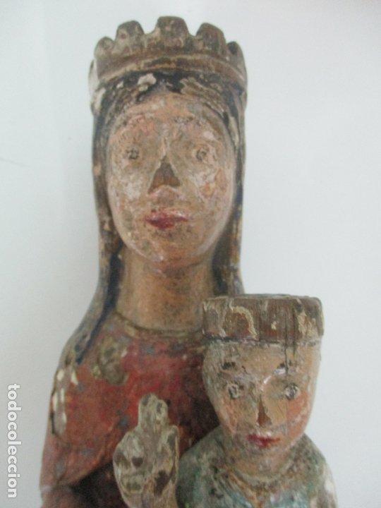 Arte: Antigua Virgen Románica Catalana - Madera de Roble, Tallada y Policromada - Original - S. XIV - Foto 38 - 175532383
