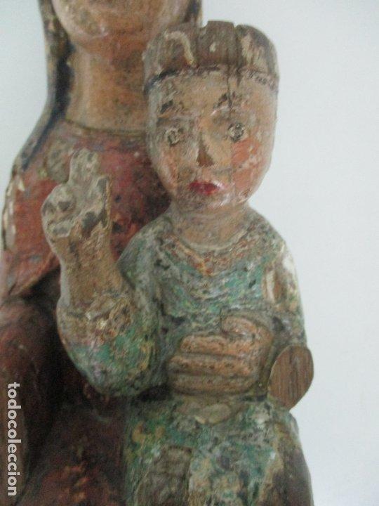 Arte: Antigua Virgen Románica Catalana - Madera de Roble, Tallada y Policromada - Original - S. XIV - Foto 39 - 175532383
