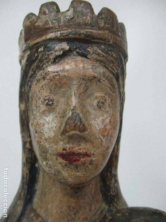 Arte: Antigua Virgen Románica Catalana - Madera de Roble, Tallada y Policromada - Original - S. XIV - Foto 40 - 175532383