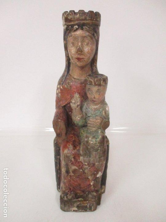 Arte: Antigua Virgen Románica Catalana - Madera de Roble, Tallada y Policromada - Original - S. XIV - Foto 41 - 175532383