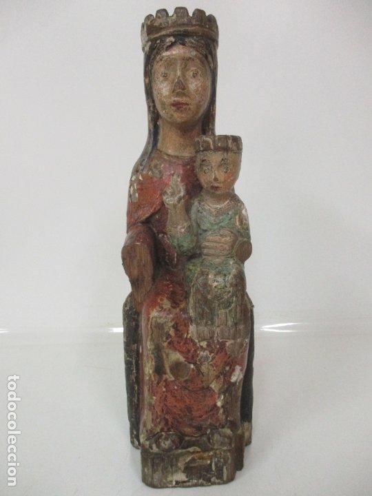 ANTIGUA VIRGEN ROMÁNICA CATALANA - MADERA DE ROBLE, TALLADA Y POLICROMADA - ORIGINAL - S. XIV (Arte - Arte Religioso - Escultura)