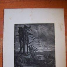 Arte: GRABADO ANTIGUO DE GUSTAVE DORÉ, RESPA PROTEGE LOS CUERPOS DE SUS HIJOS.. Lote 175591742