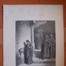 Arte: GRABADO ANTIGUO DE GUSTAVE DORÉ, EL DINERO DE LA VIUDA.. Lote 175592503