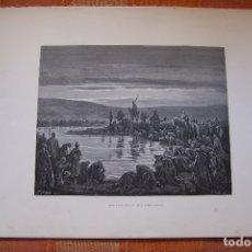 Arte: GRABADO ANTIGUO DE GUSTAVE DORÉ, GEDEON ELIGE SUS SOLDADOS.. Lote 175592684