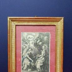 Arte: GRABADO DE LA ANUNCIACIÓN. SIGLO XVII. CON MARCO DORADO.. Lote 175614358