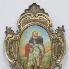 Arte: PRECIOSO SAN ROQUE. OLEO S/ COBRE. MARCO DE EPOCA. SIGLO XVIII-XIX. Lote 175624793