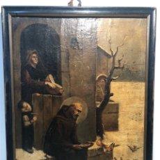 Arte: OLEO SOBRE TELA DE SAN FRANCISCO DE ASIS DANDO DE COMER A LOS PÁJAROS ANTIGUO.. Lote 175758132