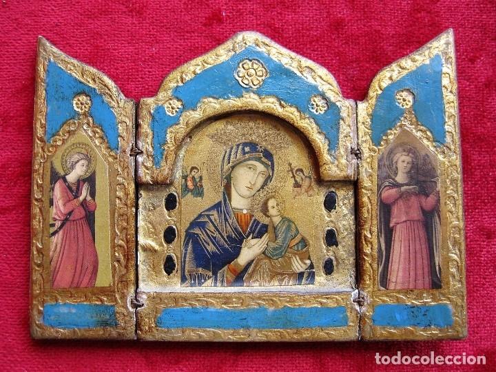 ICONO TRÍPTICO CON 3 LÁMINAS Y DECORADO EN PAN DE ORO, EXQUISITA PIEZA (Arte - Arte Religioso - Iconos)