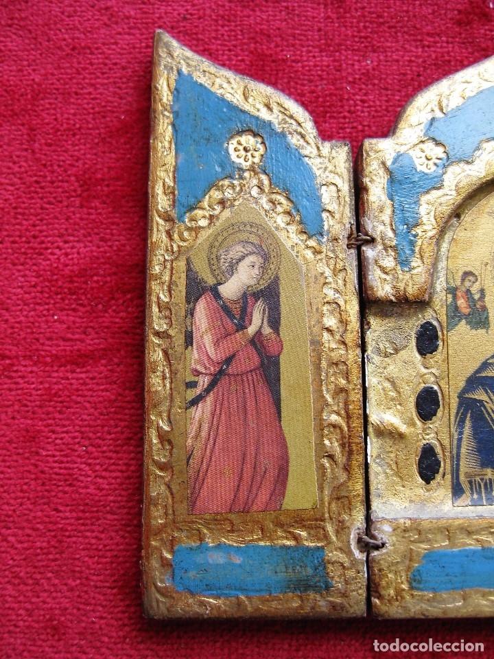 Arte: ICONO TRÍPTICO CON 3 LÁMINAS Y DECORADO EN PAN DE ORO, EXQUISITA PIEZA - Foto 4 - 183228725