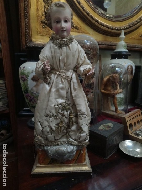 Arte: Siglo XIX Niño de vestir en madera, Dimensiones con base: cm. 34x16,5x14,5 - Foto 2 - 175840135