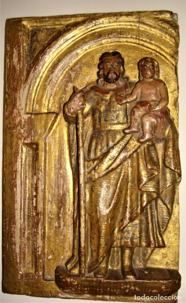 Arte: TABLA TALLADA DE SAN JOSÉ Y EL NIÑO JESÚS.POLICROMADA Y DORADA.SIGLO: XVII-XVIII. - Foto 2 - 175888902
