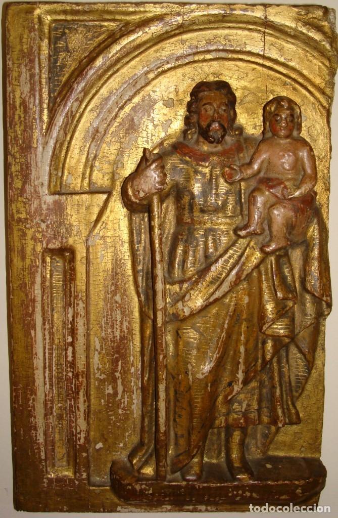Arte: TABLA TALLADA DE SAN JOSÉ Y EL NIÑO JESÚS.POLICROMADA Y DORADA.SIGLO: XVII-XVIII. - Foto 3 - 175888902