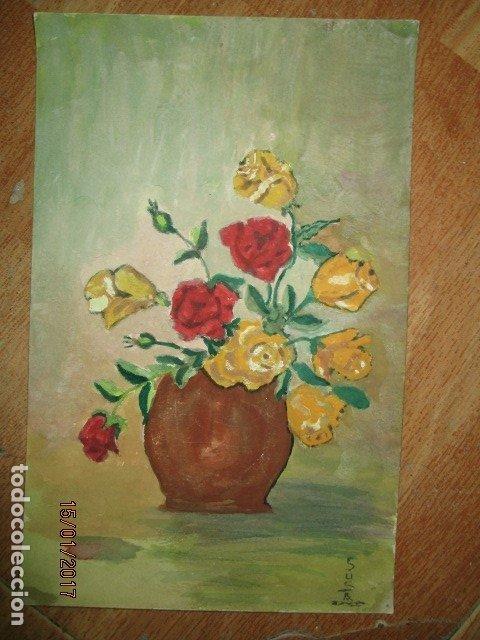 ANTIGO OLEO EN CARTON FLORES FIRMADO MEDIDAS 25 X 16 CMS (Arte - Arte Religioso - Pintura Religiosa - Oleo)