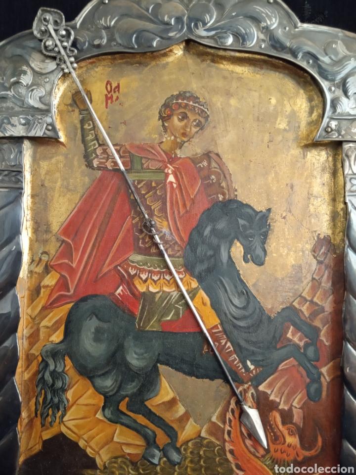PRECIOSO ICONO RUSO.ÓLEO Y PAN DE ORO SOBRE TABLA. SAN JORGE MATANDO AL DRAGÓN.MIDE 27'5CMS X 19'5 (Arte - Arte Religioso - Iconos)