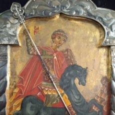 Arte: PRECIOSO ICONO RUSO.ÓLEO Y PAN DE ORO SOBRE TABLA. SAN JORGE MATANDO AL DRAGÓN.MIDE 27'5CMS X 19'5. Lote 176054144